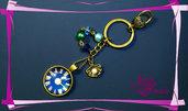 """Portachiavi """"Oceano"""" - cabochon simil orologio + perle e coralli"""