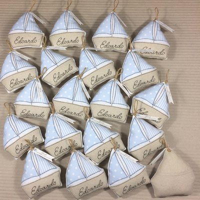 Bomboniera barchetta con tasca per i confetti bimbo e bimba, misura grande