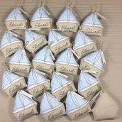 Bomboniera barchetta con tasca per i confetti bimbo e bimba