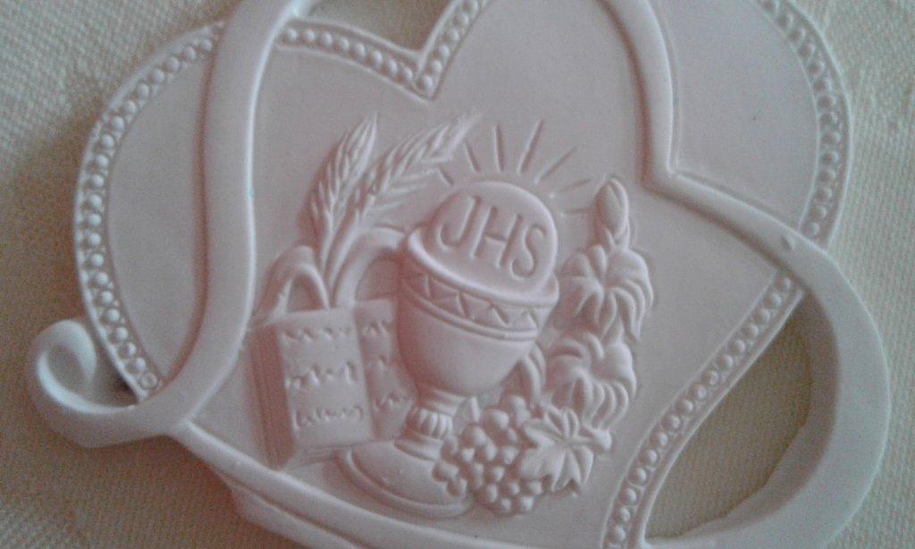 Bomboniera fai da te - grezzi in polvere di ceramica - cuore Prima Comunione