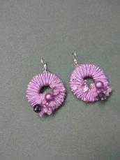 Orecchini rosa ciclamino con mezzi cristalli