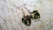 Orecchini foglie lucite dipinte a mano pendenti argento anallergici