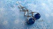 Orecchini pendenti intreccio con agate sfacettate blu monachelle argento 925 bigiotteria bijoux