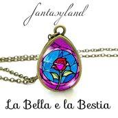 Ciondolo La rosa de La Bella e la Bestia