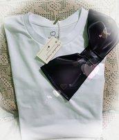 T-shirt cotone e  ecopelle