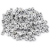 400 dadi color SILVER Lettere Alfabeto a forma di Cubo per collane bracciali
