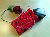 bustina portagioie sacchetto confezione regalo all'uncinetto - idea regalo - san valentino - sacchetto uncinetto rosso