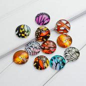 Lotto Stock 10 Perle perline cabochon tonde in vetro 20 mm