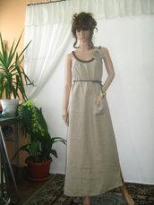 Elegante abito lungo in lino beige