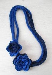 SCIARPANA doppio blu con fiori