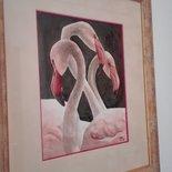 Acquerello bistro fenicotteri rosa