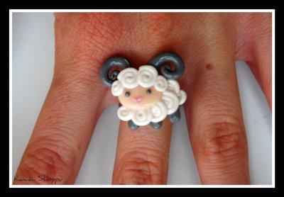 kawaii aries-sheep ring