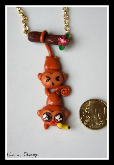 kawaii monkey necklace