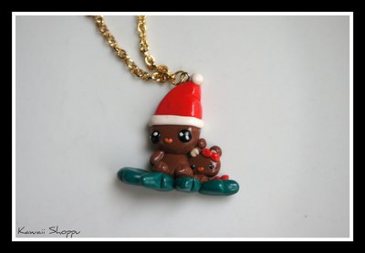 kawaii christmas bear with baby bear fimo necklace