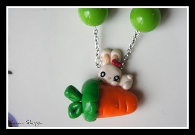 kawaii rabbit on the carrot necklace