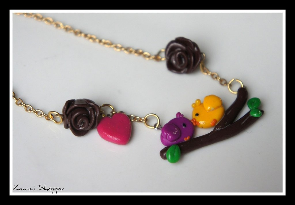 kawaii bird in love necklace