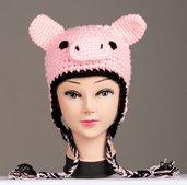 Cappellino maialino rosa