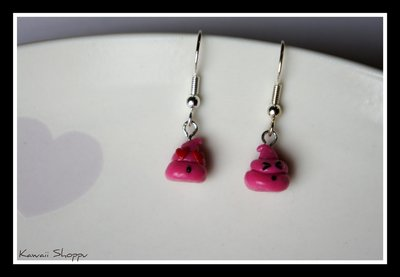 kawaii pink poo Earrings