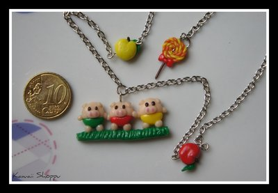 kawaii little three pigs necklace