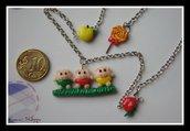 kawaii little three pigs necklace