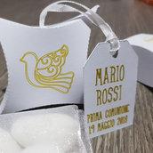 Box colomba scatoline portaconfetti bomboniere complete + tag comunione cresima