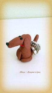 Porta anelli con bassotto in fimo per san valentino personalizzabile con il tuo cane, miniature idee regalo animali personalizzabile