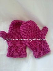 Manopole / guanti bambina in pura lana 100%