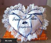Cuscino fedi cuore cuscinetto portafedi in pizzo ricamo personalizzato nomi sposi + data matrimonio