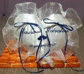 Cuscino fedi cuore cuscinetto portafedi volant in organza ricamo personalizzato nomi sposi + data matrimonio