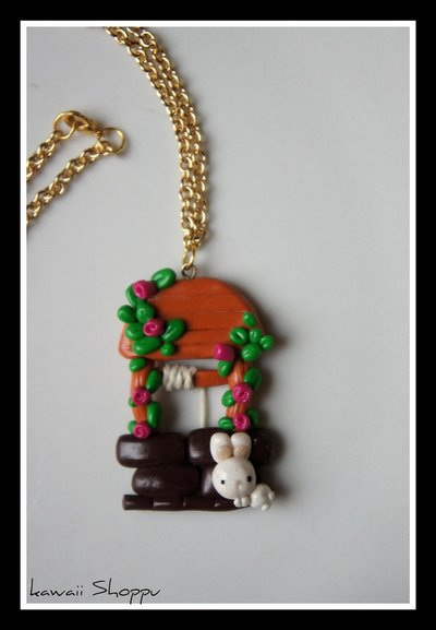 kawaii well with rabbit fimo necklace