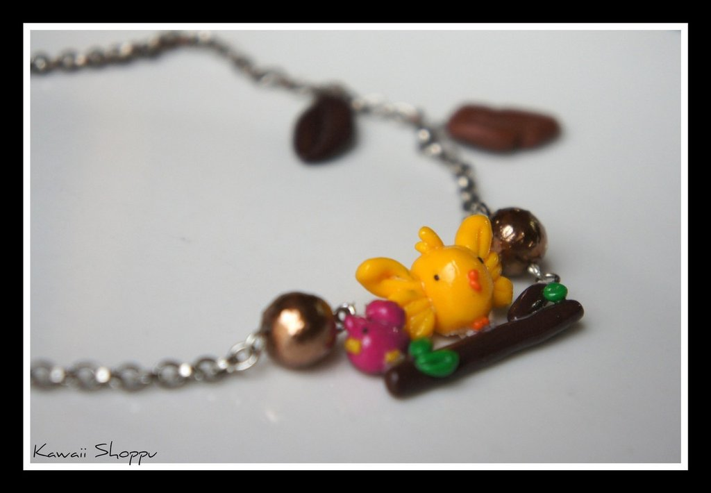 kawaii birds on the branch fimo necklace