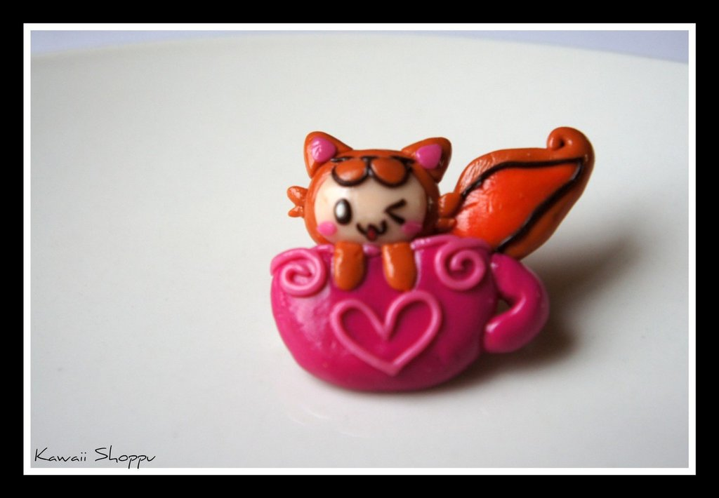 kawaii doll fox in the cup  fimo pins