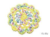 Set 6 pezzi - Sottobicchieri piccolo giallo e colori pastello all'uncinetto