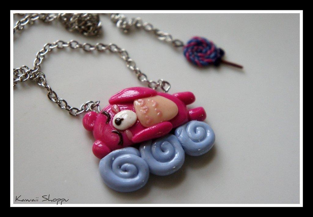 kawaii bear sleep on the cloud fimo necklace