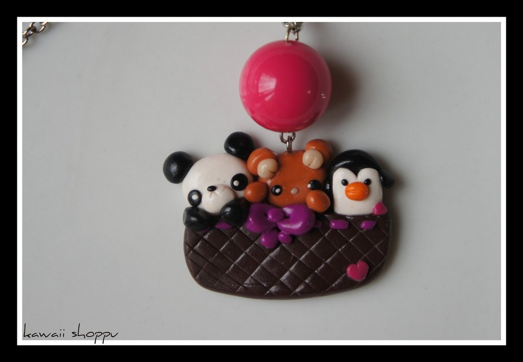 bear panda and penguin in the basket fimo necklace