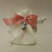 Sacchetto bomboniera di cotone bianco con fiocco e angioletto