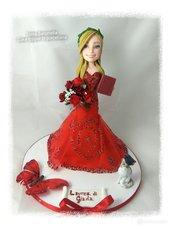 Cake topper laurea, ragazzain rosso,  dottoressa