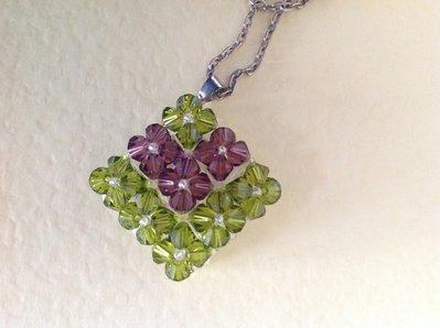 Ciondolo swarovski verde/viola