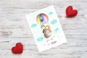 Cartolina illustrata per innamorati San Valentino fatta a mano