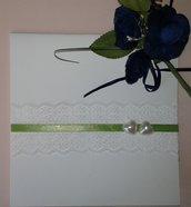 Invito matrimonio partecipazione nozze con pizzo e cuori perle