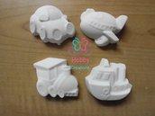 Gessetti artigianali a forma di auto, trenino, aereo e nave,  Bomboniera Compleanno, Segnaposto, chiudipacco