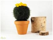 pianta grassa pelosa con fiore giallo ad uncinetto, decorazione casa, bomboniera, vaso 9 cm.