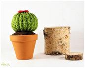pianta grassa con fiore ad uncinetto, decorazione casa, bomboniera, vaso 9 cm.