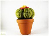 pianta grassa con fiore ad uncinetto, pianta a crochet, , vaso 11 cm. grandissima