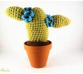 pianta grassa con fiore ad uncinetto, cactus amigurumi, decorazione casa, bomboniera, vaso 11 cm. misura grandissima