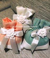 Sacchetti sacchetto porta confetti Bomboniera matrimonio Gessetto profumato Rosa
