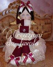 Bambola angelo bordeaux e panna