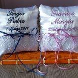 Cuscino portafedi cuscinetto personalizzato nomi data matrimonio scegli colori