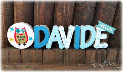 Davide - Nome 3d - Decorazione per cameretta bimbo