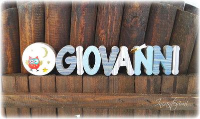 Giovanni, Nome 3d, Decorazione per cameretta bimbo, regalo bambino, lettere decorate